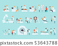 Flat vector set of people on medical examination. Doctors and patients. Professionals at work 53643788