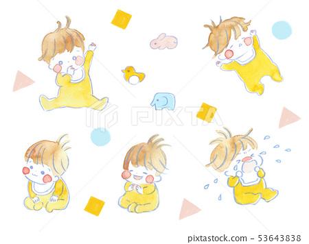 嬰兒,水彩插圖 53643838