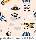 Childish seamless panda pattern with hand drawn 53644653