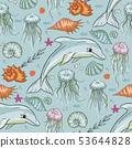 Sea seamless vector pattern. 53644828