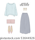 Fashion clothes spring set: sweater, skirt, rose 53644926