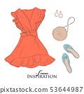 Woman's clothes shopping concept. Flatlay closet 53644987