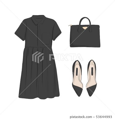 Basic woman collection: flats, black dress, bag. 53644993