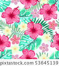 pattern of hibiscus and tropical leaves 53645139