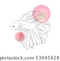 Beautiful gold fish underwater line art. Marine ve 53645628