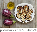 Grilled eggplants seasoned with olive oil 53646124