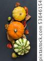 Autumn background - Pumpkins, acorns, leaves and 53646154
