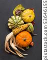 Autumn background with pumpkins 53646155