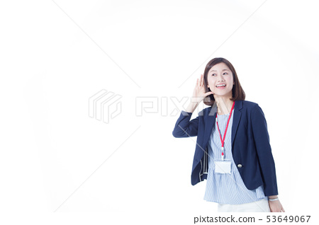 Office casual, female, white background 53649067