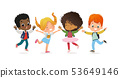 Multiracial school kids. Boys and girls are playing together happily jump. Kids Play at the grass 53649146