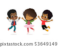 African American Boys and girls are playing together happily. Kids Play at the grass. Children 53649149