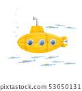 Watercolor submarine illustration 53650131