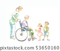 Grandmother in a wheelchair, care and children 53650160