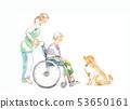 輪椅,關心和狗的祖母 53650161