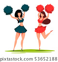 Two cheerleader women with pom poms 53652188