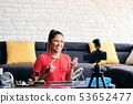 Girl Recording Vlog Video Blog At Home With Digital Camera 53652477