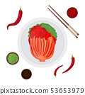Cartoon Color Korean Traditional Food Kimchi and Elements Set. Vector 53653979
