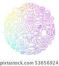 Street Bar Line Icon Circle Design 53656924