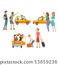 Taxi Service Set, City Transportation, Clients Waving to Taxi Vector Illustration 53659236