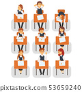 Students Sitting at Desks in Classroom, Front View, University or College Lesson Vector Illustration 53659240