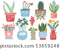 Collection of Blooming Plants in Colorful Pots, Indoor Potted Houseplants Vector Illustration 53659248