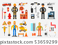 Professions Set, Fireman, Policeman, Road Worker, Plumber with Professional Equipments Vector 53659299