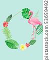 熱帶植物和火烈鳥水彩背景 53659492