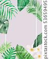 熱帶植物水彩背景 53659495