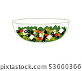 Delicious Salad with Lettuce, Tomatoes, Cheese and Olives in Glass Transparent Bowl, Fresh Healthy 53660366