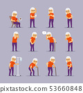 Elderly woman sick icons 53660848