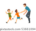 Dad and Sons Playing Catch Up and Tag Game, Father and His Children Having Good Time Together, Best 53661094