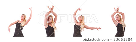 Woman dancing on the white 53661284