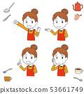 요리 주방 앞치마 여성 필기 바람 인물 53661749