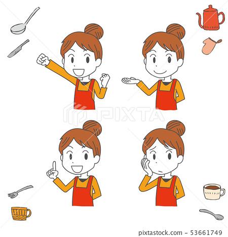 烹飪廚房圍裙女人手寫風格 53661749