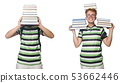 Young student with books isolated on white  53662446