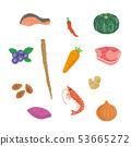 재료 세트 야채 생선 고기 과일 일러스트 벡터 53665272