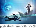 Businessmen in competition concept with shark 53665578