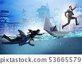 Businessmen in competition concept with shark 53665579