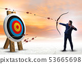 Businessman aiming arrow with bow 53665698
