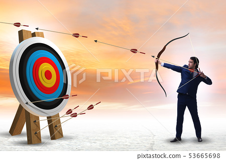 Businessman aiming arrow with bow 53665698