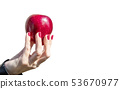female hand holding a red apple closeup 53670977
