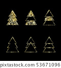 A set of geometric Christmas trees. Gold Glitter. 53671096