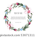 Floral vector round frame with orchid and garden 53671311