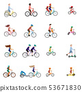 Vector illustrations of people on bicycles 53671830