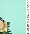 배경 - 바다 - 여름 - 해변 - 몬스 테라 - 메리아 - 선글라스 - 밀짚 모자 - 블루 53672577