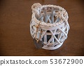 Home-made decoration of a glass jar with string.  53672900