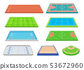 Set of contours of popular sports courts. Vector illustration on white background. 53672960