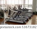 Gym interior with sport equipment. 53673182