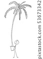 Vector Cartoon of Man Holding Big Pot With High Palm Tree 53673342