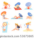 Girls in Swimsuits and Hats Sunbathing on Beach Set, Beautiful Young Woman Enjoying Summer Vacation 53673665